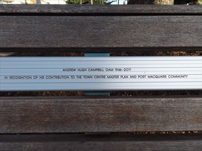 Close-up of the inscription for the Dedicated Bench. 1600, Thursday, 13 April, 2017