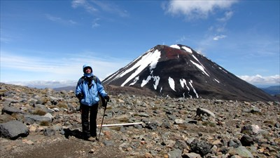 Muriel in front of Mt Ngauruhoe
