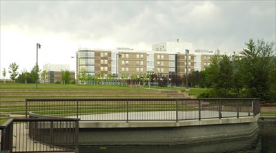 View of TransCanada Amphitheatre toward Mount Royal University student residences