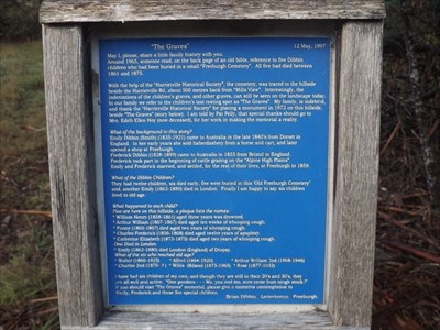 The text of the Plaque at the start of the track up the hill to the Abandoned Cemetery. 0800, Tuesday, 17 May, 2016