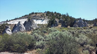 Nearby pinnacles that are close to another historical marker that mentions the Lassen Trail that passed through here.