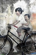 Image for 'Children on a Bicycle' - Satellite Oddity - George Town, Penang Island, Malaysia.