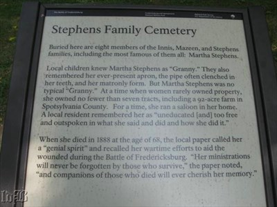 Interpretive sign at the Stephens Family Cemetery