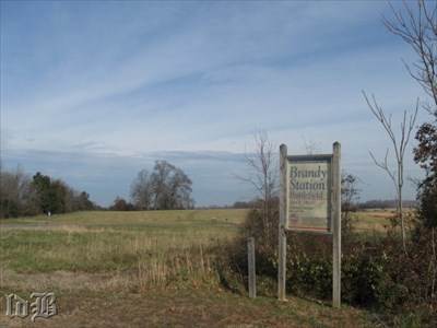 The sign at entrance to the Brandy Station Battlefield at Buford`s Knoll.