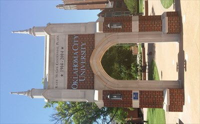 Freestanding arch at one entrance to Oklahoma City University.