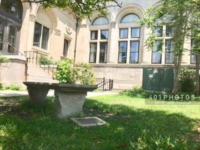 View of Robbins Library from the bench