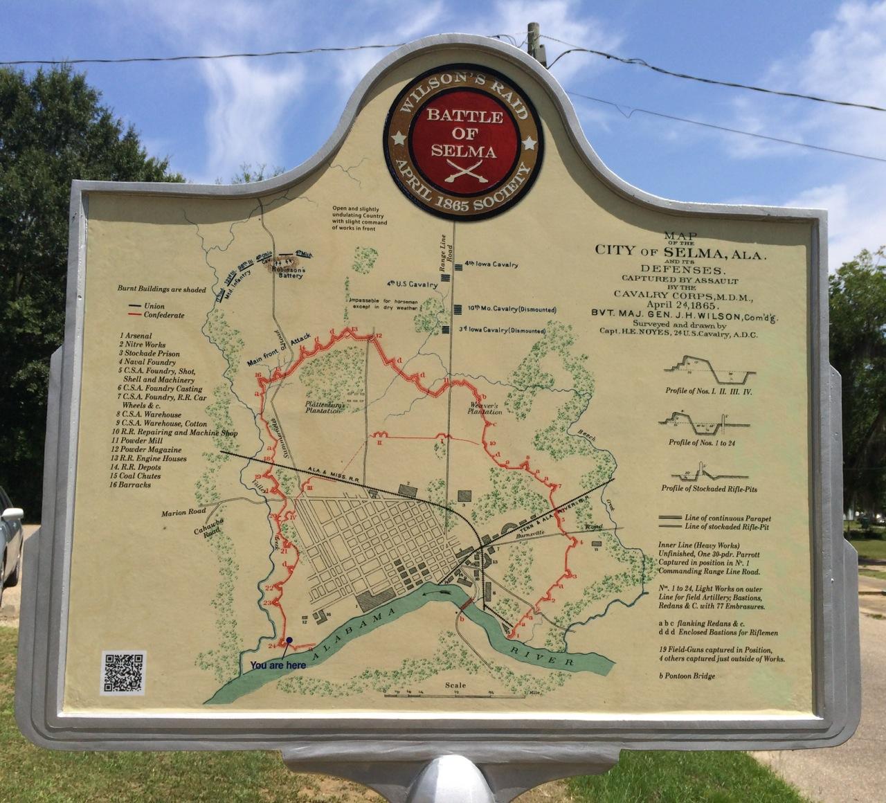 Selma Alabama Map of Defenses on April 2, 1865