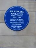 Image for PHYSICS: Sir Edward Appleton 1947 – Bradford, UK