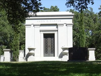 Carter mausoleum in Greenwood Memorial Cemetery in Fort Worth