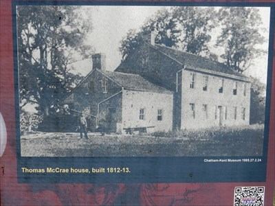 Older photo of the McCrae House; from an interpretive sign located on the neighboring property