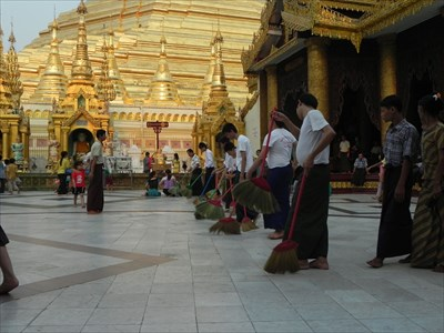 Temple Cleaner in Shwedagon Paya in Yangon, Myanmar