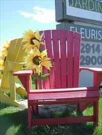 Une chaise rouge et une jaune.