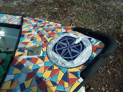 Close up of the Compass Rose on the Mosaic Boat. 1511, Tuesday, 29 May, 2018