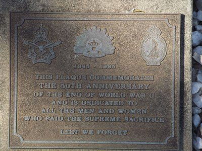 The 50 year Anniversary plaque for the end of World War Two.1131, Sunday, 1 October, 2017