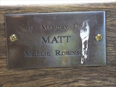 Close up of the plaque for the Dedicated Bench, for Matt Mollie Robinson.