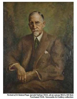 A painting of Dr Pope the main benefactor, and instigator of the Newcastle Art Gallery, by Jerrold Nathan in 1944. Oil on canvas, and now in the Gallery collection.