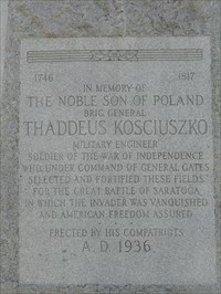 This is a close shot of the Thaddeus Kosciuszko monument located at the first stop of this waymarking tour.