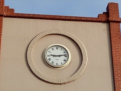 Close up of the clock face.