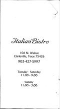 Image for The Italian Bistro - Clarksville, TX