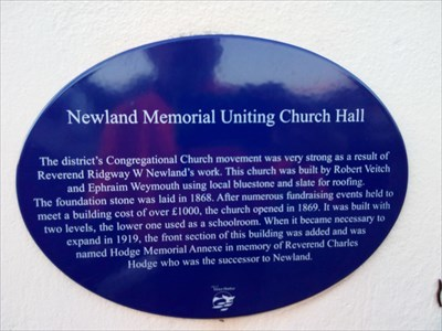 The Blue Plaque for the Church (and Hall). 0721, Tuesday, 29 May, 2018