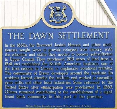 Dawn Settlement Plaque