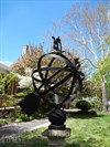 This ornamental armillary sphere has five intersecting rings.