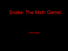 Snake The Math Game