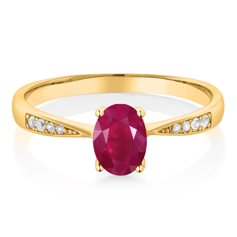 Gem Stone King 1.06 Ct Round Red Garnet White Topaz 18K Rose Gold Plated Silver Pendant