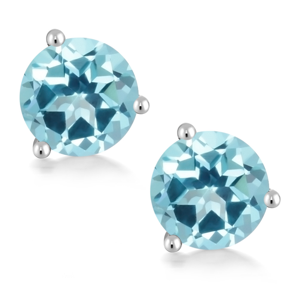 420edc040ca084 Details about 14K White Gold Stud Earrings Set with Round Ice Blue Topaz  from Swarovski