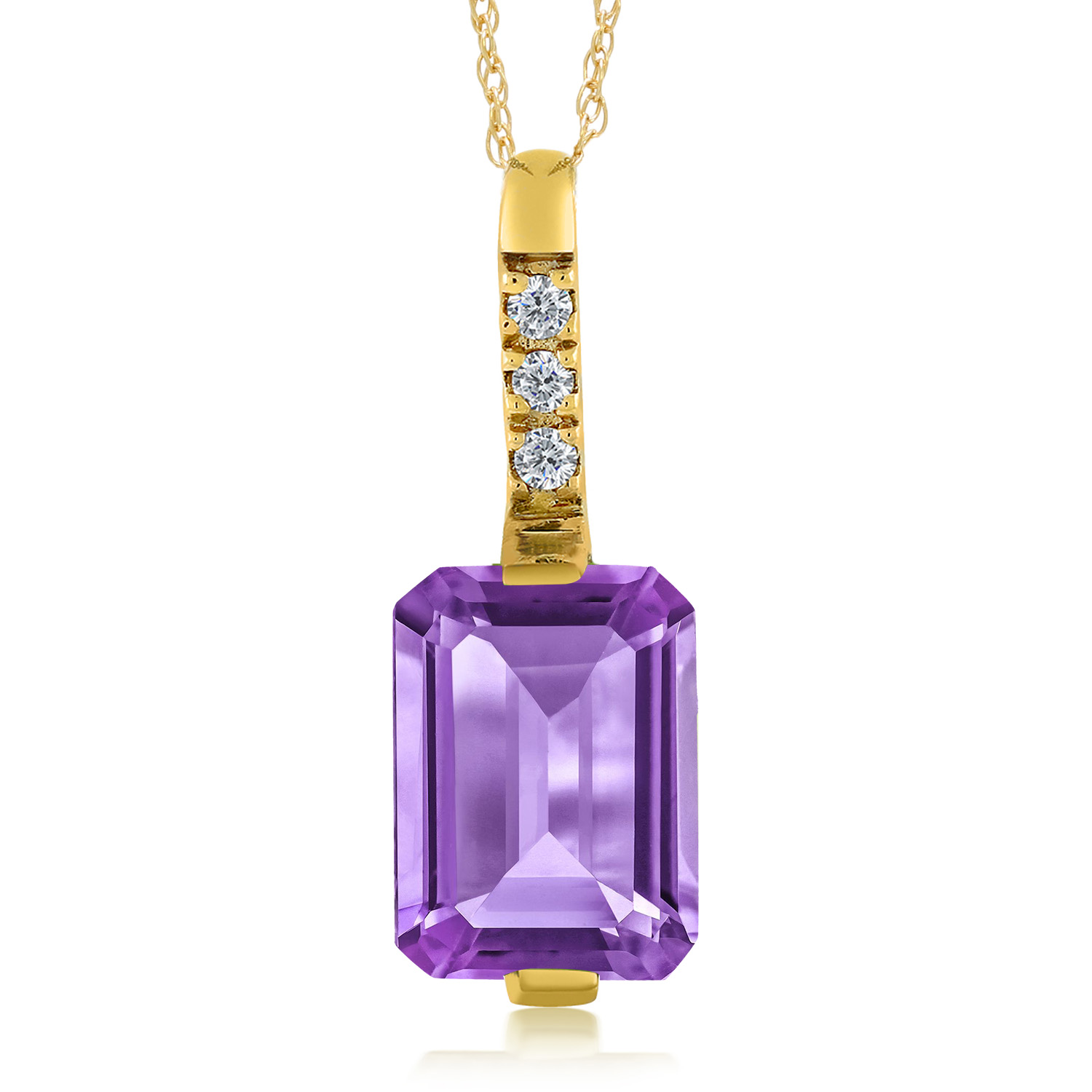 purple accent gold silver cross in over and diamond looped sterling tcw genuine necklace yellow pendant amethyst