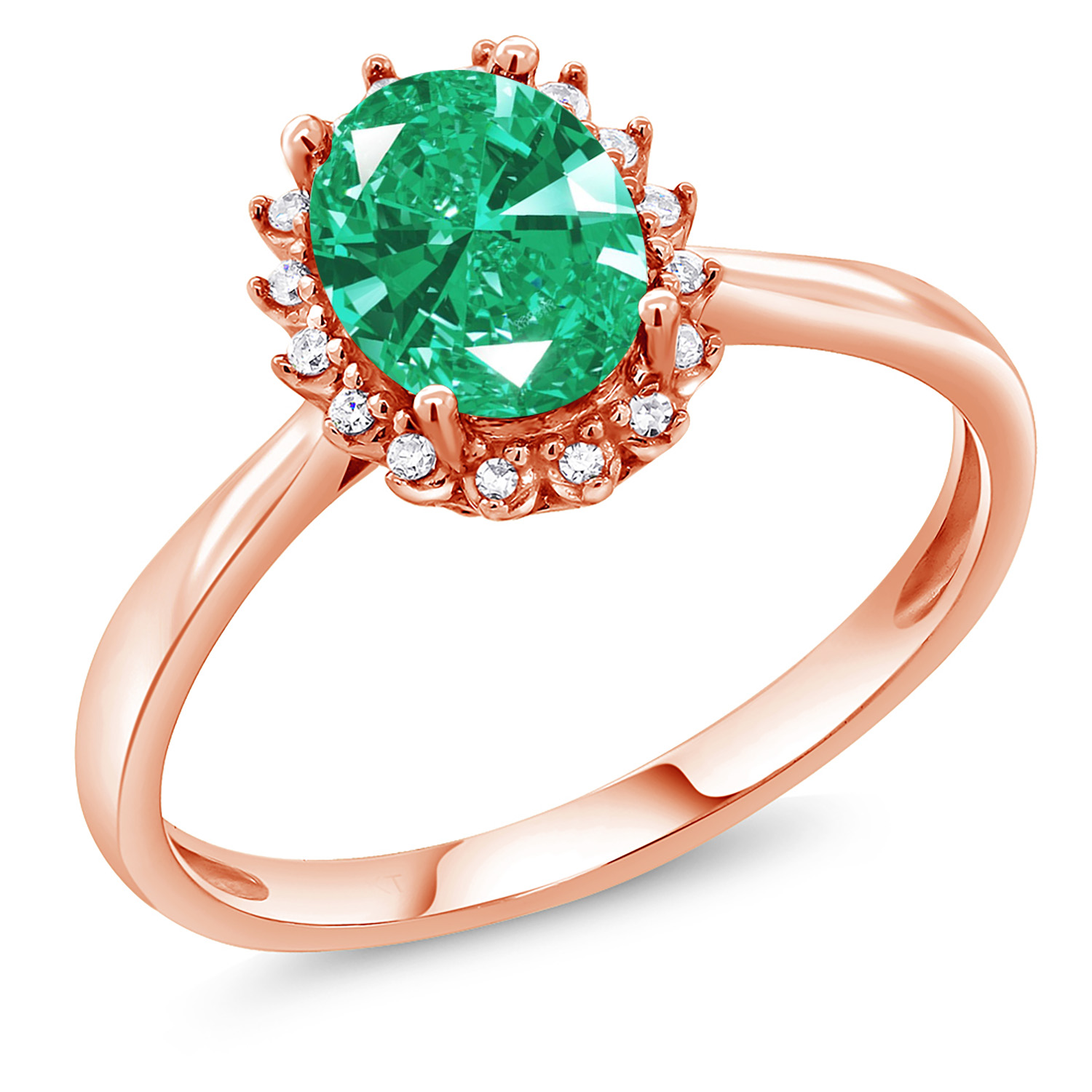 cd83ad788 10K Rose Gold Fashion Right-Hand Ring Set with Green Zirconia from Swarovski