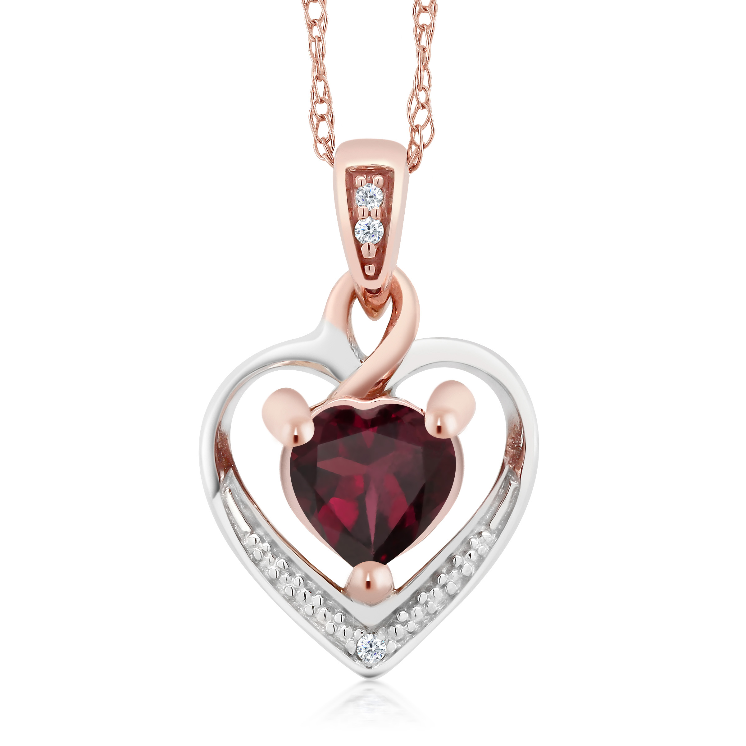 rose pendant necklace garnet rhodolite in gold