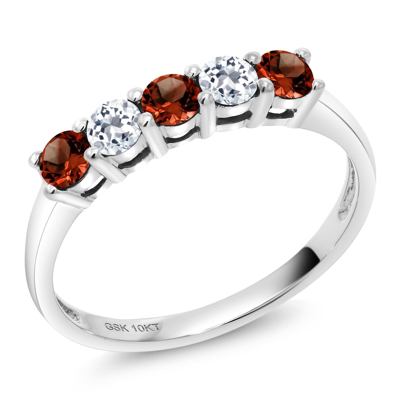 Beautiful Garnet /& White Topaz 925 Sterling Silver Earring Necklace Ring N Set