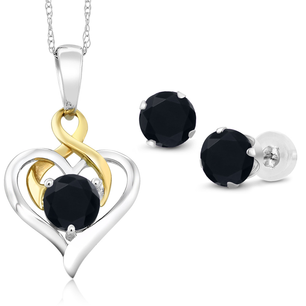 186 ct round black onyx 10k white gold pendant earrings set ebay image is loading 1 86 ct round black onyx 10k white aloadofball Choice Image