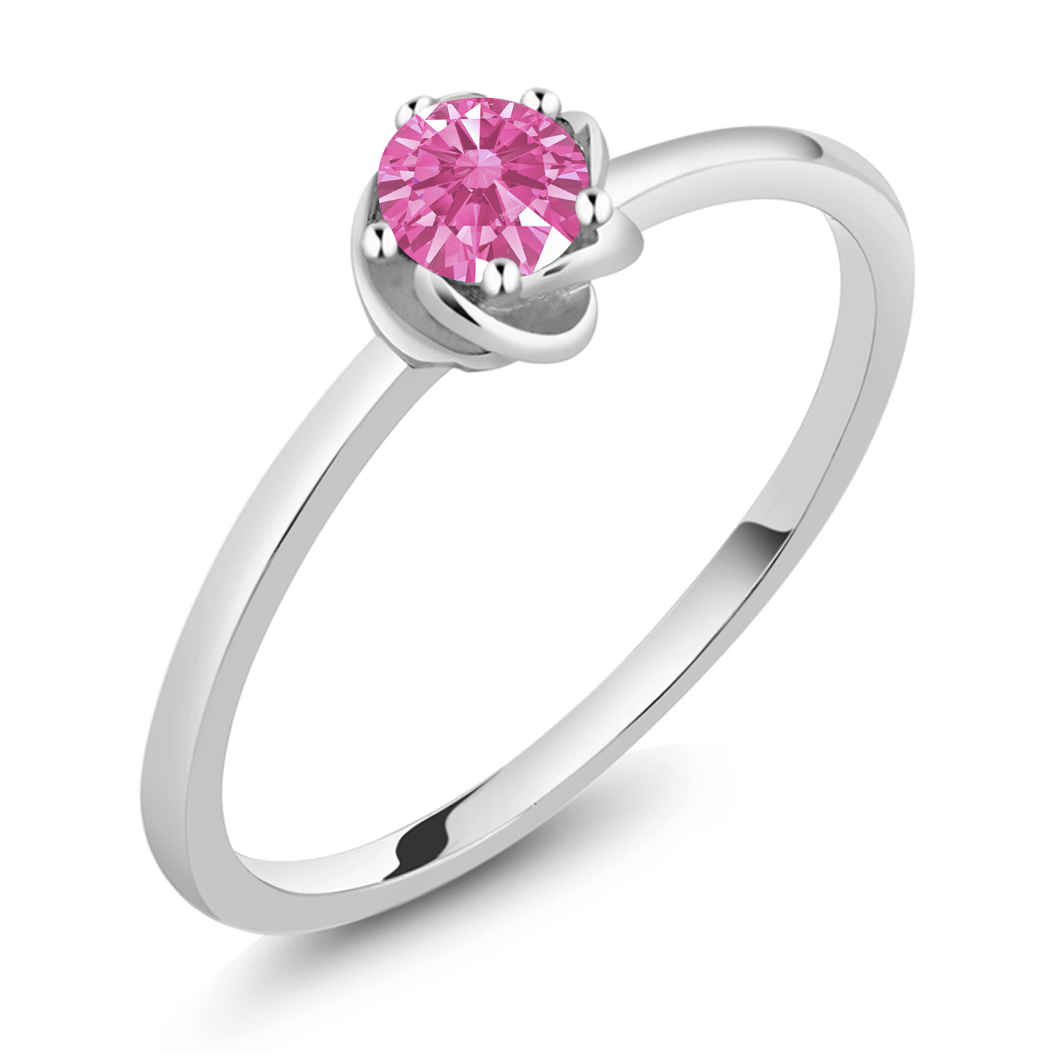 c8afc4db840c5d 10K White Gold Solitaire Ring Set with Round Pink Zirconia from Swarovski