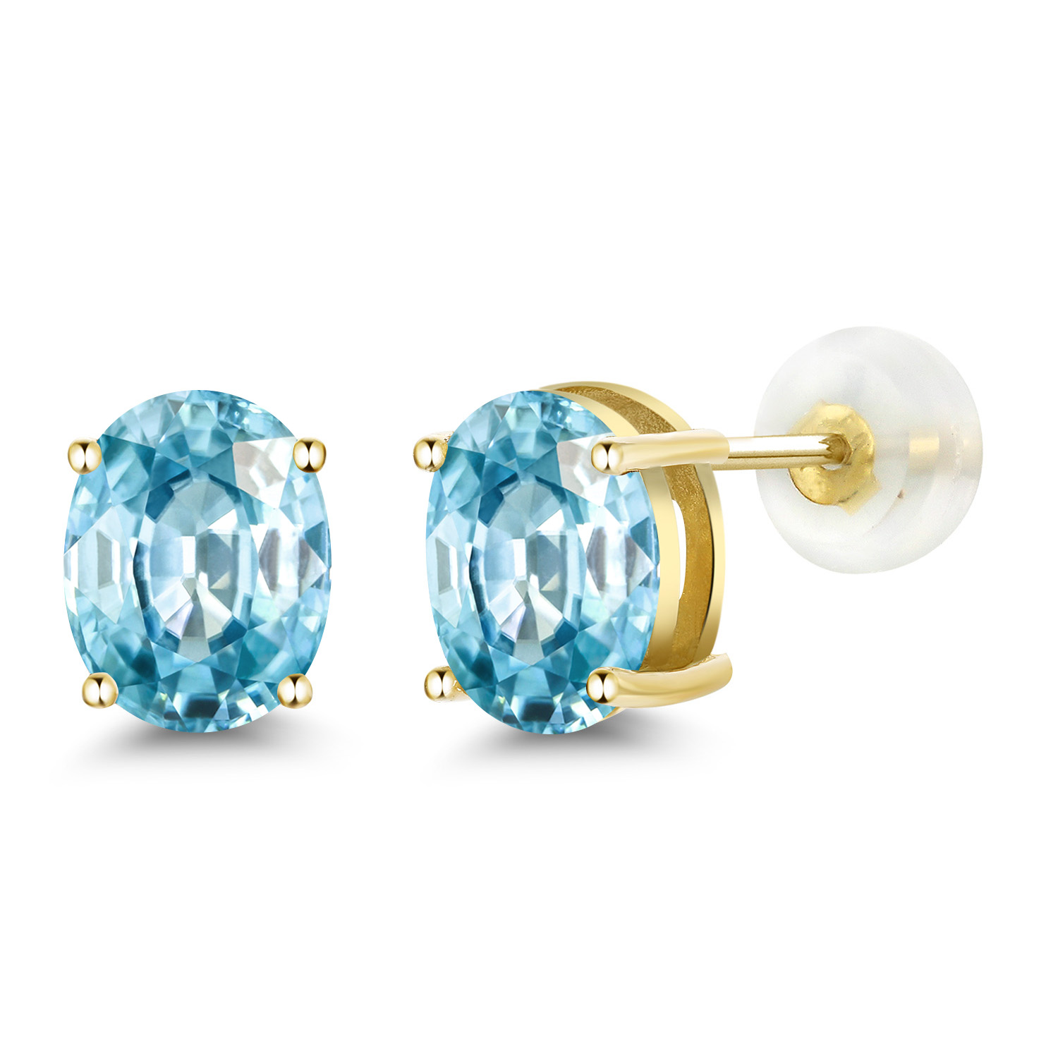 6e7980c80 3.33 Ct Oval 8x6mm Blue Zircon 14K Yellow Gold Stud Earrings | eBay
