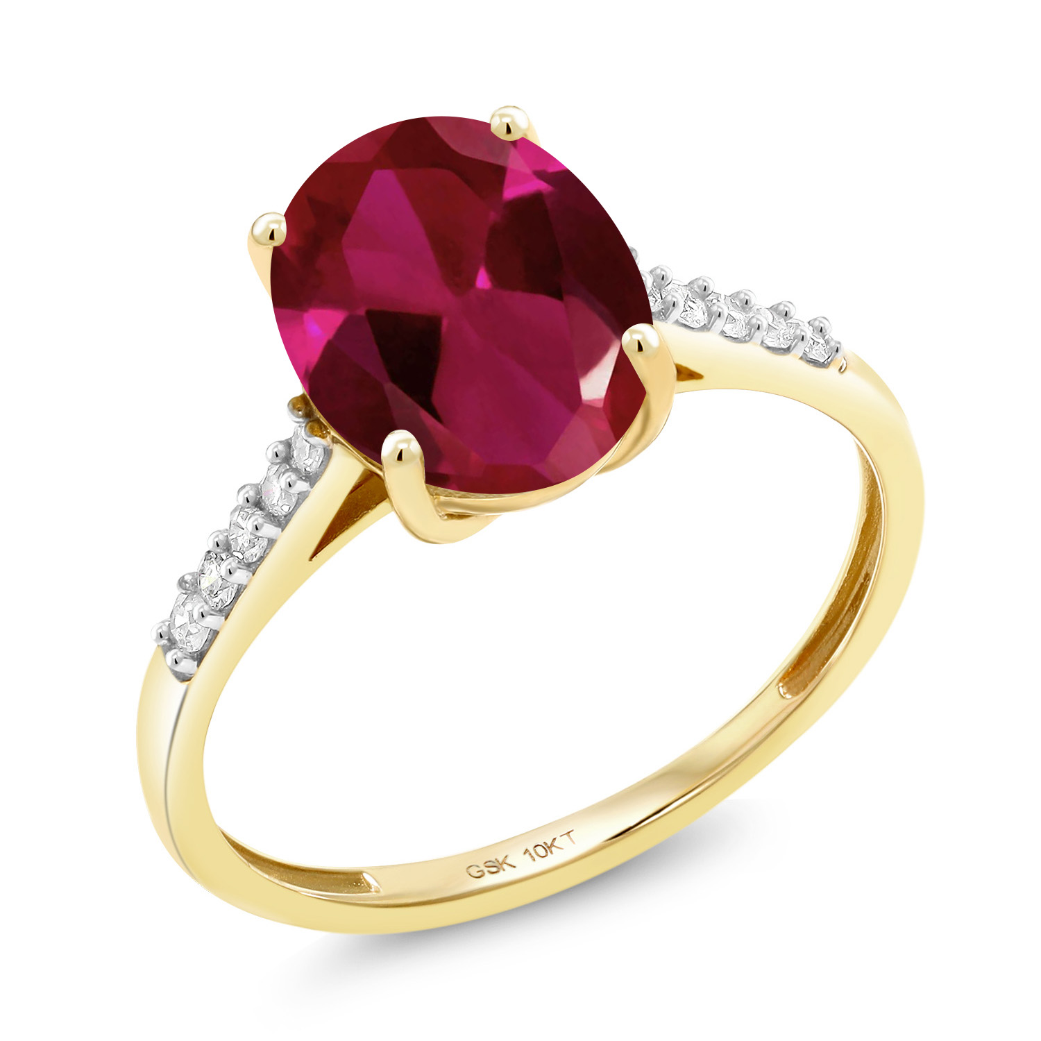 10K Rose Gold 0.82 Ct Oval Purple Amethyst and Diamond Engagement Ring