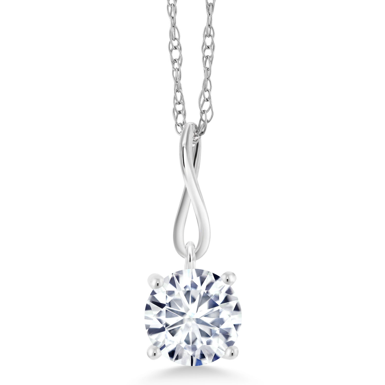 Gem Stone King 925 Sterling Silver Pendant Timeless Brilliant Round DEW Created Moissanite 0.50ct IJK