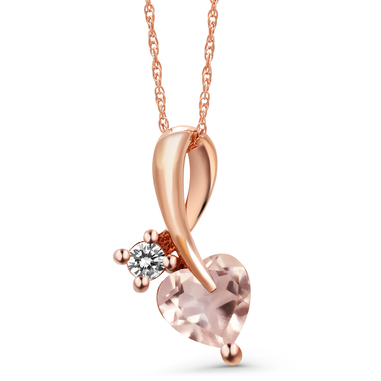 Details about 0 80 Ct Heart Shape Rose Rose Quartz White Diamond 10K Rose  Gold Pendant