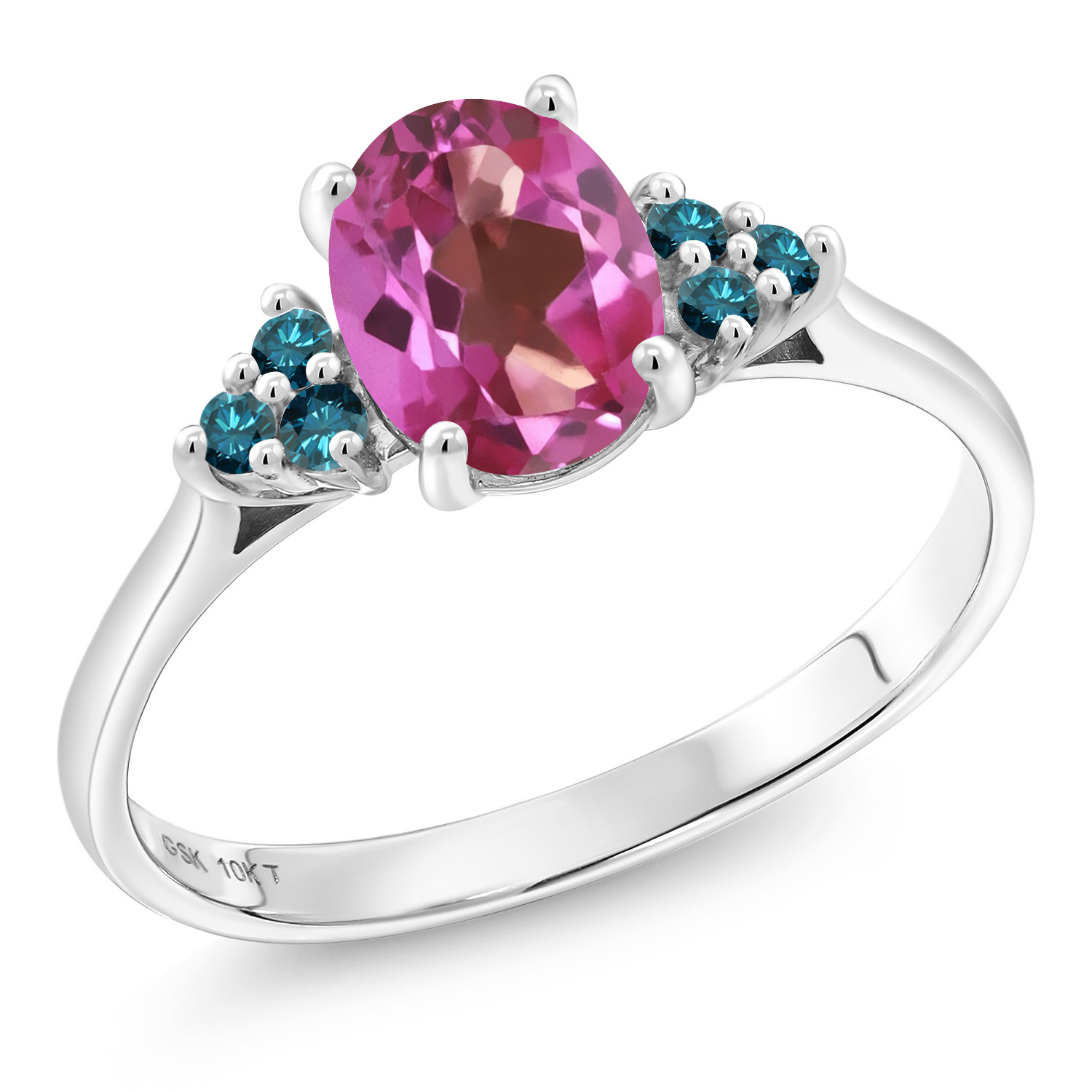1.45 Ct Oval Pink Mystic Topaz bluee Diamond 10K White gold Ring