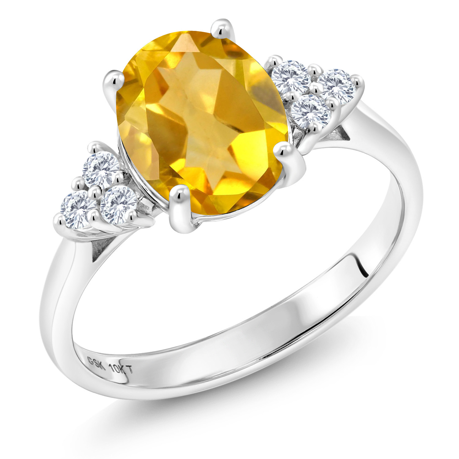 10K White gold 1.62 Ct Oval Yellow Citrine G H Lab Grown Diamond Accent Ring