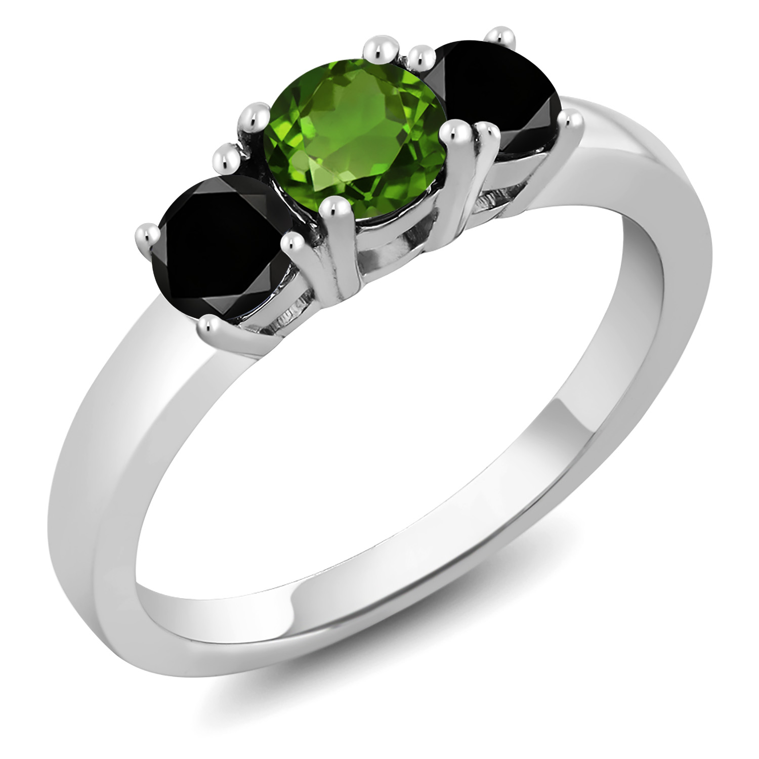 1.47 Ct Oval Peridot 925 Two-Tone Sterling Silver Wedding Band Insert Ring