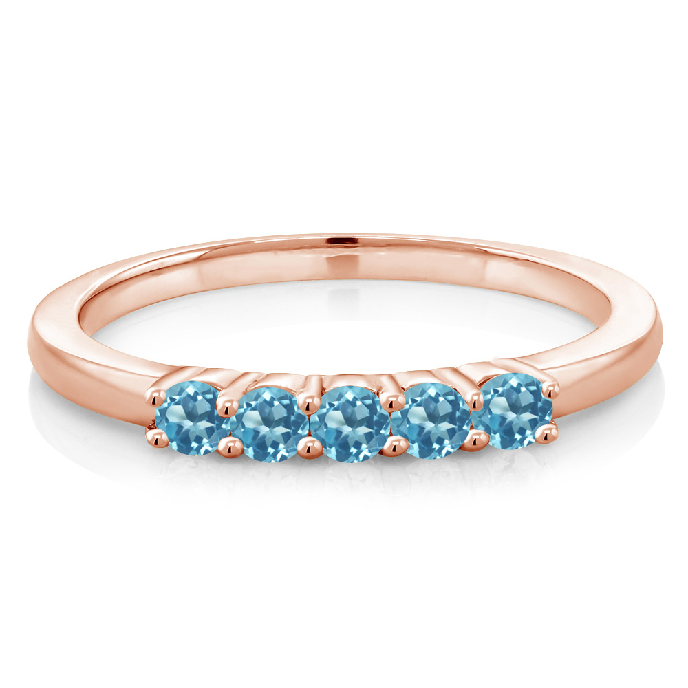 0.77 Ct Round Swiss Blue Topaz 18K Rose Gold Plated Silver Heart Ring