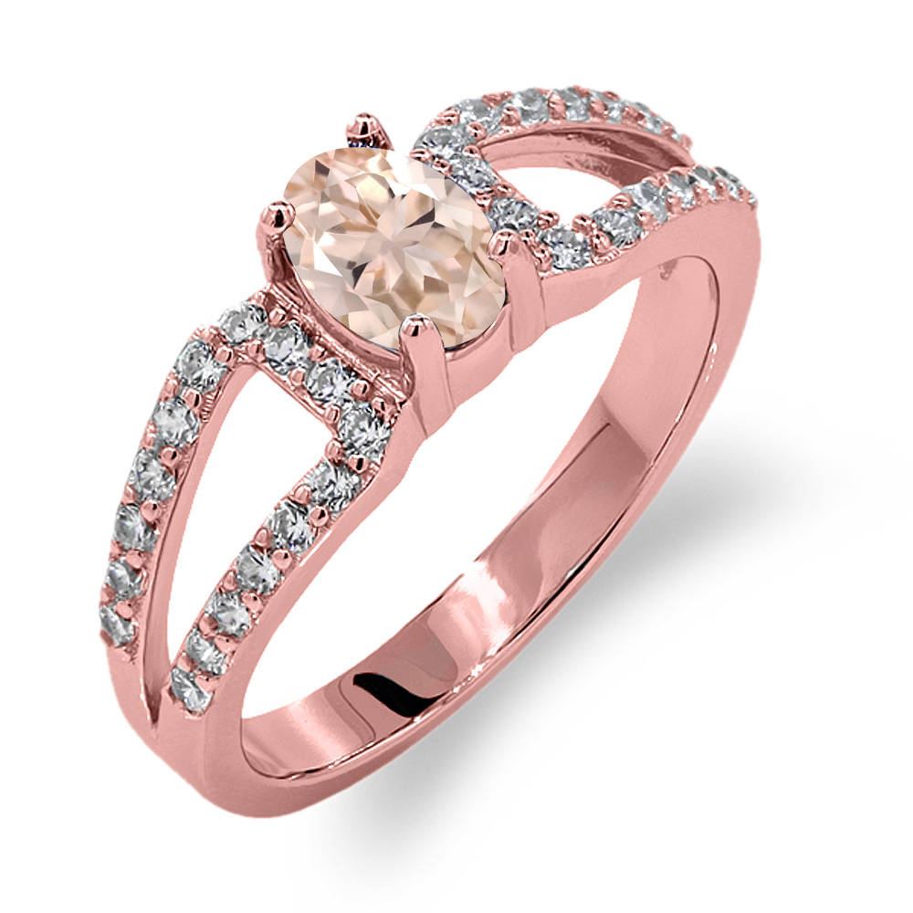 1.13 Ct Oval Peach Morganite 18K Rose Gold Plated Silver Ring | eBay