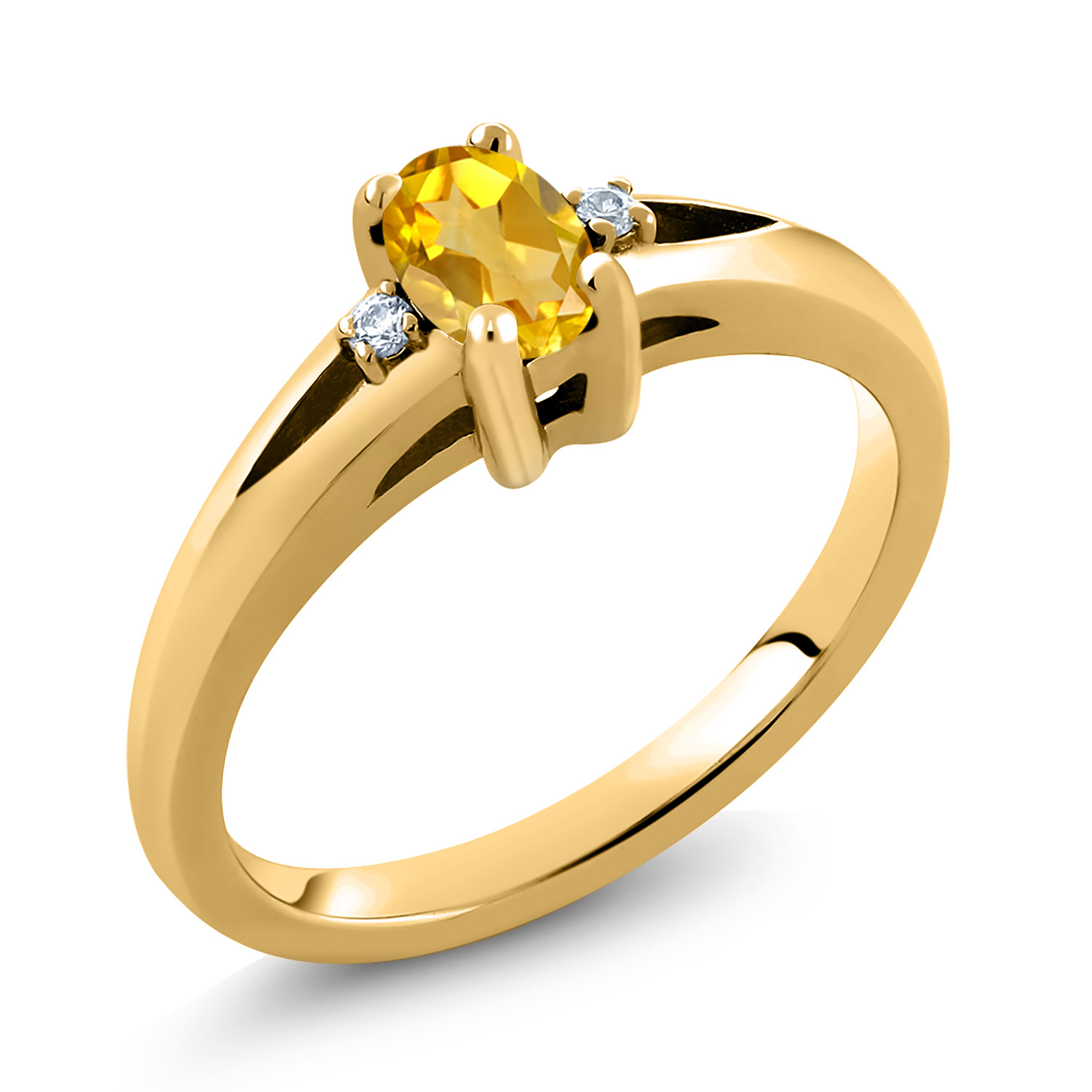 Gem Stone King 0.78 Ct Oval Checkerboard Yellow Citrine White Topaz 18K Rose Gold Plated Silver Ring