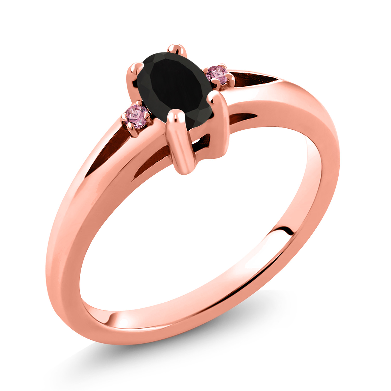 Gem Stone King 0.40 Ct Oval Black Onyx 18K Rose Gold Plated Silver Pendant