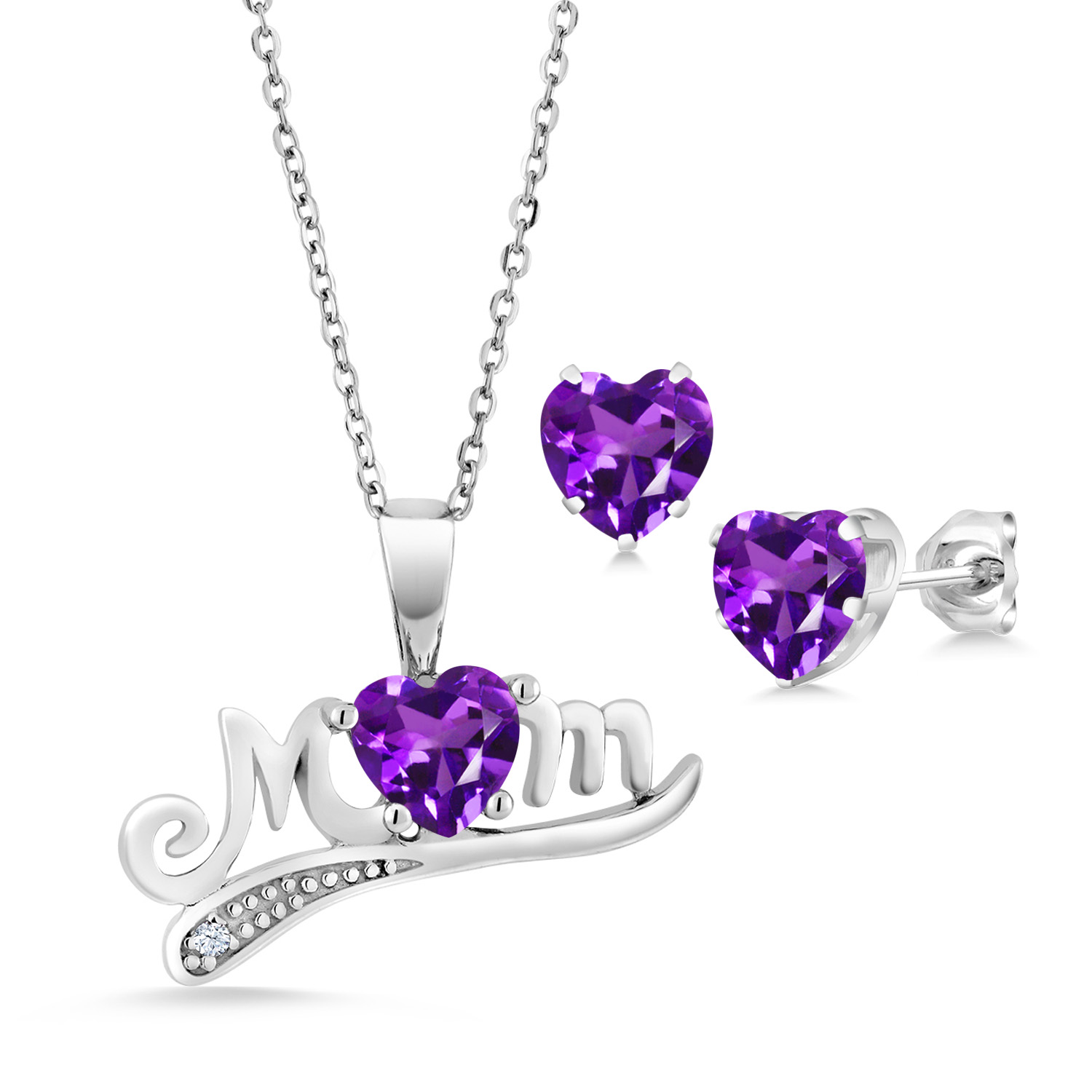 Inviting Amethyst 925 Sterling Silver Purple Pendant Set Natural Supply US Gift