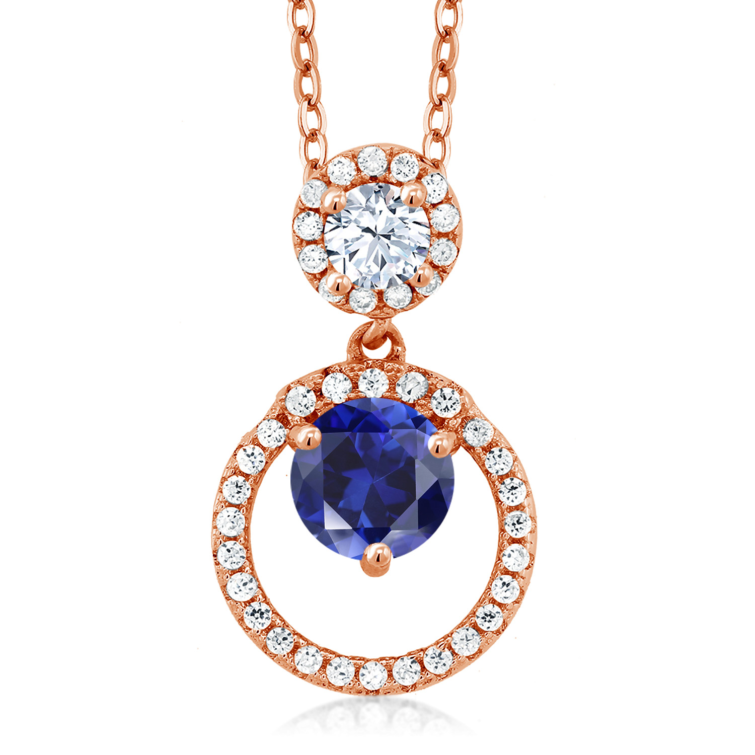 Gem Stone King 1.02 Ct Oval Blue Sapphire 18K Rose Gold Plated Silver Pendant With Chain