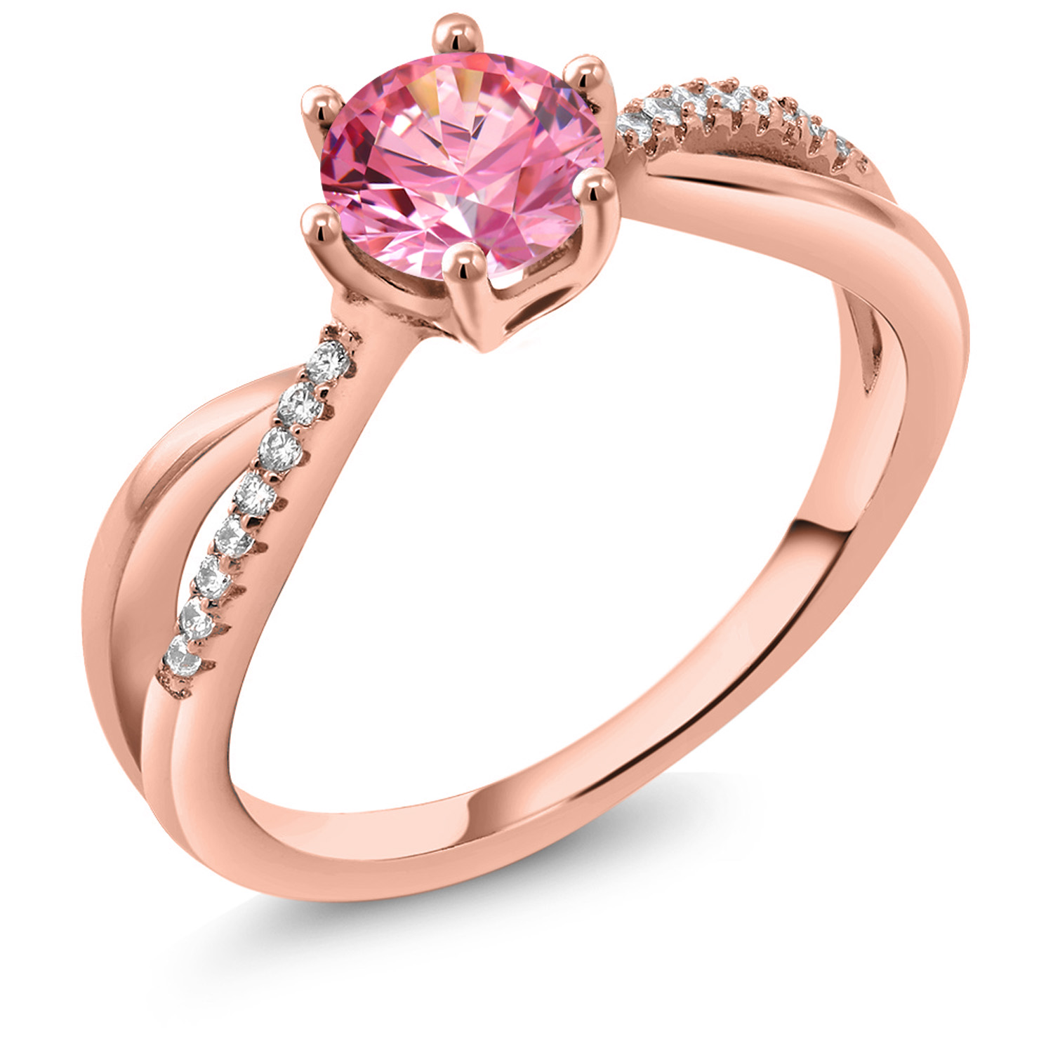 1aa9a13351 18K Rose Gold Plated Silver Ring Set with Fancy Pink Zirconia from Swarovski