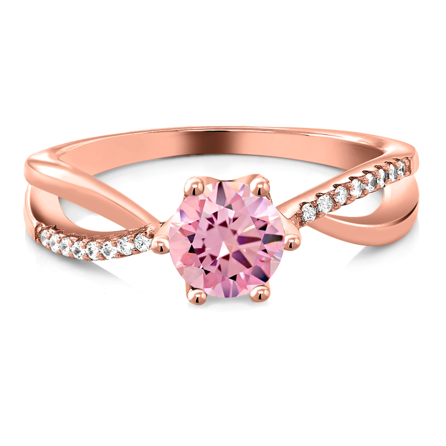 1.69 Ct Round Pink Zirconia 18K Rose Gold Plated Silver Ring | eBay